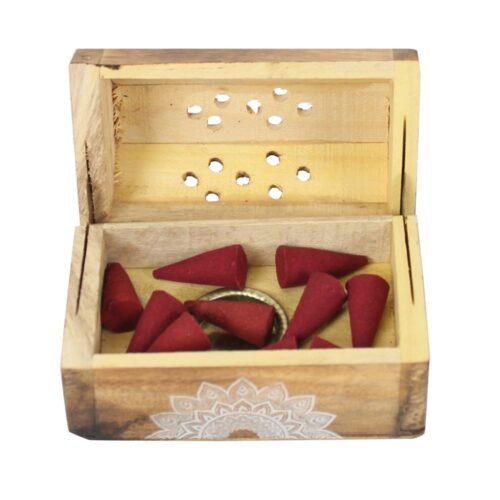 Karma Rose Incense Cone Wooden Set