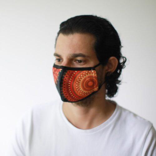 Μάσκα Προστασίας Προσώπου Orange Mandala - Ενήλικες